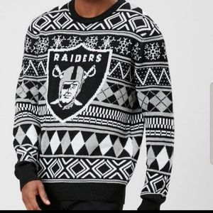 NFL RAIDERS winter ugly crew neck sweater NWT